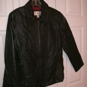 Worthington Black Leather Jacket/Coat, Size Large